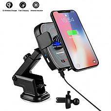 [해외]Qi Wireless Car Charger Mount, CLEEBOURG Infrared Automatic Induction Car Charging Holder Fast Wireless Phone Holder Air Vent Charging Bracket for iPhone XR XS Max X 8 8+ 삼성 All Qi Enabled Phones