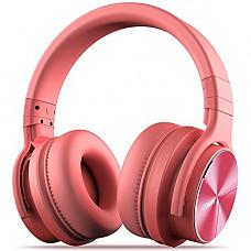 [해외]COWIN E7 PRO [2018 Upgraded] Active Noise Cancelling 핸드폰 Bluetooth Headphones with Microphone Hi-Fi Deep Bass Wireless Headphones Over Ear 30H Playtime for Travel Work TV Computer Phone - Pink