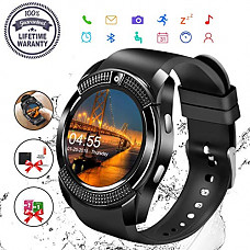 [해외]Smart Watch,Bluetooth Smartwatch Touch Screen Wrist Watch with Camera/SIM Card Slot,Waterproof Phone Smart Watch Sports Fitness Tracker Compatible Android Phone iOS Phones Black