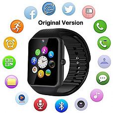 [해외]Bluetooth Smart Watch with Camera, Touch Screen Smartwatch +Unlocked Watch Cell Phone Smart Phone Watch for Android/iOS 애플 Smart Phones(Original Version) (Plain Black)