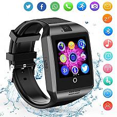 [해외]Smart Watch Android Phones - Bluetooth Watch Cell Phone Audio Image 카메라 - SIM Card Slot Smartwatch Touchscreen Men Women … (Black)