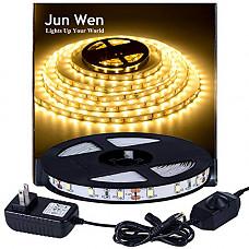 [해외]Flexible LED Strip Light Kit 3000K Warm White 16.4ft/5M 300 Units LED Tape SMD 2835 LEDs Non-waterproof Dimmable LED Rope Lighting with 2A UL Listed Power Supply for Kitchen Car Bar Clubs
