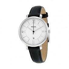 [해외]Fossil Womens Jacqueline Quartz Stainless Steel and Leather Casual Watch, Color: Silver-Tone, Black (Model: ES3972)