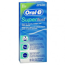 [해외]오랄비슈퍼플러스 Oral-B Super Floss Mint Dental Floss Pre-Cut Strands 50 ea
