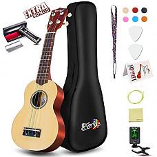 [해외]Soprano Ukulele Beginner Pack-21 Inch w/Rainbow String Gig Bag Fast Learn Songbook Digital Tuner All in One Kit