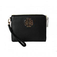 토리버치 가죽 파우치 Tory Burch Britten Large Pebbled Leather Zip Pouch Wristlet (Black)