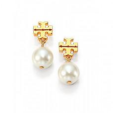 [해외] 토리버치 로고 귀거리 Tory Burch Logo Pearl Drop Earrings