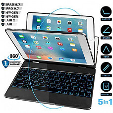 [해외] 아이패드 9.7(5세대, 6세대, Air, Air2)키보드 케이스 iEGrow iPad Case with Keyboard for iPad 2018(6Th Gen)- iPad 2017(5Th Gen)- iPad Pro 9.7- iPad Air2- iPad Air, 7 Colors Backlit Bluetooth Keyboards with 360 Degree Flip Cover (Black)