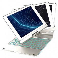 [해외] 아이패드 6th/5th/Pro 9.7/Air 2/Air 360 회전 키보드 케이스 iEGrow F180 Silver Case with Keyboard, 7 Colors Adjustment Backlit and Breathing Light Keyboard with 360 Degree Rotatable Cover
