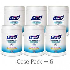 [해외] 퓨렐 손세정용 티슈(270매, 6통)PURELL Hand Sanitizing Wipes, Fresh Citrus Scent, 270 Count Alcohol-free formula Sanitizing Wipes in Eco-Fit Canister (Case of 6) - 9113-06