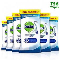 [해외] Dettol 데톨 와이프 항균 표면 세정, Wipes Antibacterial Bulk Surface Cleaning, Multipack of 6 x 126, Total 756 Wipes