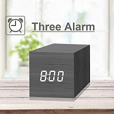 [해외] 디지탈 목재 형태 LED 표시 미시 알람시계 JALL Digital Alarm Clock, with Wooden Electronic LED Time Display, 3 Dual Plus Alarm, 2.5-inch Cubic Small Mini Wood Made Electric Clocks for Bedroom, Bedside, Black