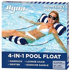 [해외] 아쿼 4-in-1 다용도 몬터레이 해먹튜브 Aqua 4-in-1 Monterey Hammock Inflatable Pool Float, Multi-Purpose Pool Hammock (Saddle, Lounge Chair, Hammock, Drifter) Pool Chair, Portable Water Hammock