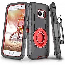[해외] BENTOBEN 삼성갤럭시 S7 Case, 4in1 Hybrid Shockproof Heavy Duty Rugged Full Body Protective Cover Built-in Rotating Kickstand Swivel Belt Clip Holster Case for Samsung Galaxy S7- Black/Red