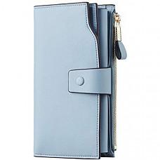 [해외] Travelambo 여성 RFID 멀티 카드 여권 핸드폰 지갑 Womens RFID Blocking Large Capacity Luxury Waxed Genuine Leather Clutch Wallet Multi Card Organizer