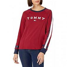 [해외] 타미힐피거 여성 로고 크루넥 롱 슬리브 티셔츠 Tommy Hilfiger Womens Long Sleeve Crew Neck Logo Tee(Crimon)