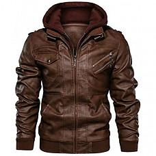 [해외] JYG 남성 모터사이클/바이크 가죽 잠바(후드티 분리 가능)Mens Faux Leather Motorcycle Jacket with Removable Hood
