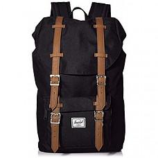 [해외] 허쉘 랩탑 백팩 Herschel Little America Laptop Backpack - Black/Tan Synthetic Leather
