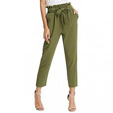 [해외] GRACE KARIN 여성용 크롭 페이퍼 백 포켓 허리 팬츠 Women's Cropped Paper Bag Waist Pants with Pockets (색상 : Army Green)