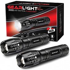 [해외] 기어라이트 LED 후레쉬라이트(S1000) 방수 손전등(2pack) GearLight LED Tactical Flashlight S1000 [2 Pack] - High Lumen, Zoomable, 5 Modes, Water Resistant Light - Camping Accessories, Outdoor Gear, Emergency Flashlights